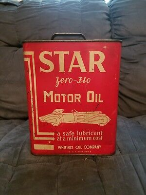 Vintage Star Zero Flo 2 Gallon Motor Oil Tin Can Whiting Company