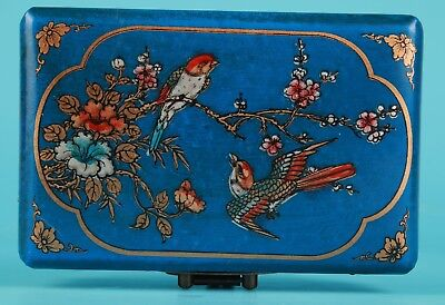 Unique Chinese Blue Leather Jewelry Box Painting Flowers Birds Decorate Gift