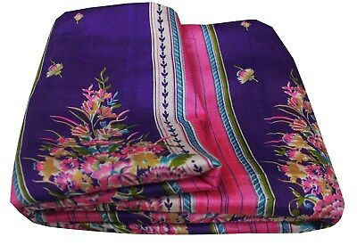 Pure Silk Vintage Purple Saree Floral Printed Indian Women Dress Bollywood Sari