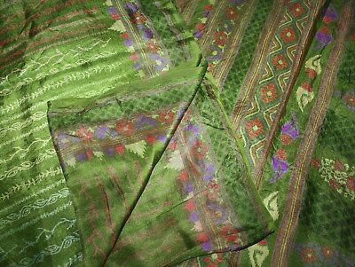 Indian Vintage Saree Floral Printed Pure Silk Crafts Fabric Bollywood Sari Dress