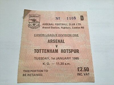 ARSENAL v Tottenham Hotspur Spurs Matchday Ticket 01st January 1985 FREE POSTAGE