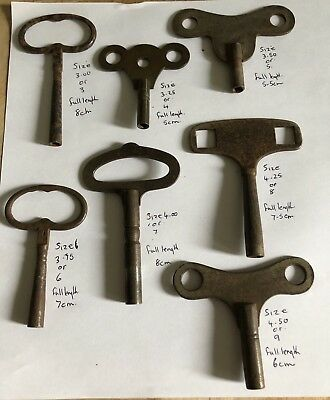 7 X  Vintage clock Keys From Size 3 To 9