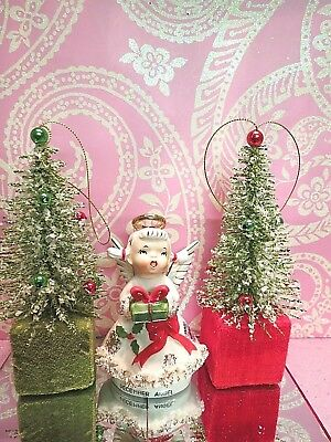 Vtg Lefton December Angel Holding Gifts Red Sash Ribbon TWO BOTTLE BRUSH TREES