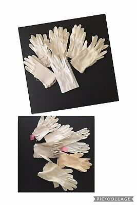 VINTAGE GLOVES LOT 12 PR White Wrist Length Embellished Buttons Embroidery Nice