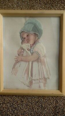 little girl embroiderd picture hand made