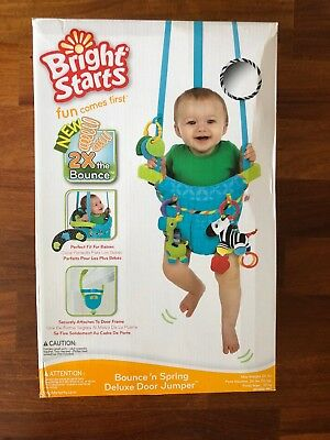 NIB Bright Starts Bounce 'N Spring Deluxe Door Jumper, Blue