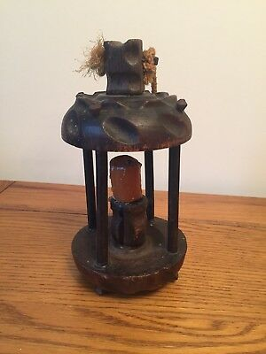 Very old Antique woodenCandle Holder with original candle