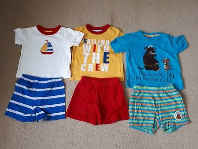 Boys Bundle Pyjama Shorties x 3 Age 12-18 Mths Gruffalo Debenhams & Mothercare