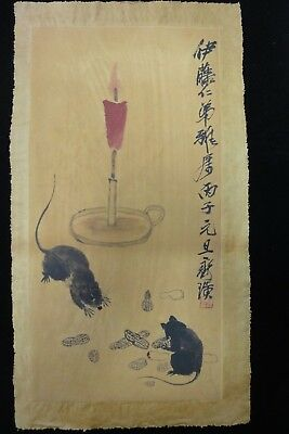 """Old Fine Large Chinese Paper Painting Mouse Candlestick """"QiBaiShi"""" Marks"""