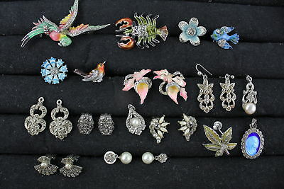 15 x True Vintage MARCASITE JEWELLERY inc. Quirky Lobster Brooch