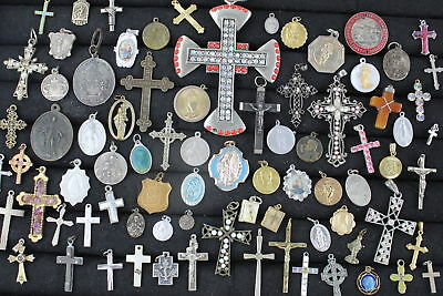 80 x Vintage RELIGIOUS JEWELLERY inc. Crosses, Enamel Charms, Pendants