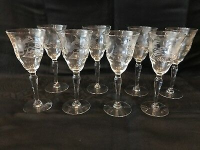 "Set of 8-Vintage, clear, 6"" etched CORDIAL crystal glass with stems"