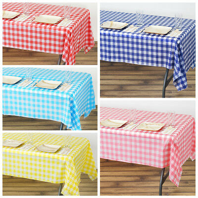 "54 x 108"" Checkered Disposable Plastic Rectangular Table Cover Tablecloth Party"