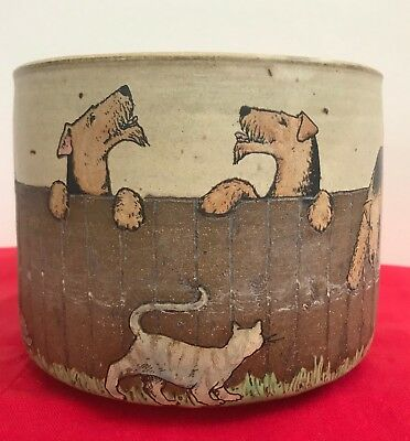 """Airedale Terrier handcrafted and hand painted pot by Nan Hamilton 6.5"""" diameter"""