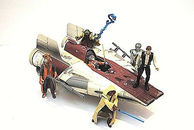 Star Wars Droid Cartoon 80's A-Wing Fighter Vehicle ship with six action figures