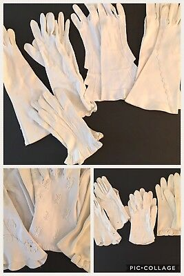 VINTAGE GLOVES LOT 10 PR White Wrist Mid Length Embellished Embroidery Bow Beads