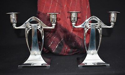 Superb  Wmf Antique Silver Plated Art Nouvous Secessionist Pair Of Candlesticks