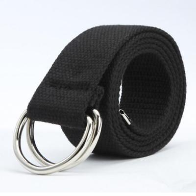 Men Military Cloth Belt Double D-Ring Buckle Casual Waistband DD