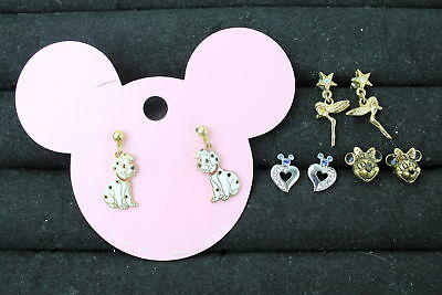 4 x Vintage DISNEY JEWELLERY Earrings; 101 Dalmatians, Minnie Mouse, Tinkerbell
