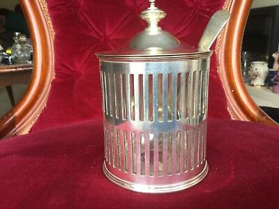 Walker & Hall Glass Lined Lidded Silver Plated Pot With Spoon.