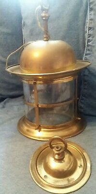 Nautical Solid Brass Hanging Ship Light With Brass Shade