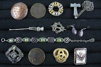 12 x Vintage SCOTTISH & CELTIC JEWELLERY inc. Penannular, Thistle, Thor's Hammer