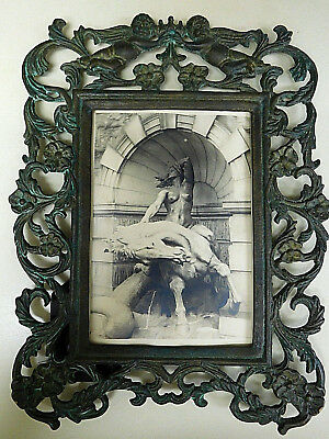Vintage Ornate Metal Cast Iron Metal PICTURE FRAME Cherub / Angels Victorian