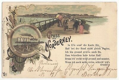1897 Gruss aus Norderney, Germany - East Frisian Islands, Maritime Theme