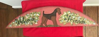 Airedale Terrier hand crafted and hand painted wooden sign