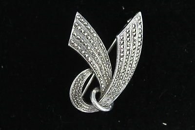 Vintage .925 Sterling Silver MARCASITE BROOCH Abstract Modern Design (15g)