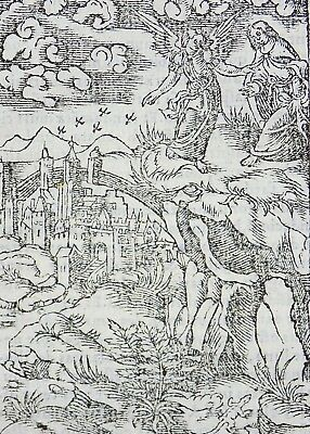 1541 REGNAULT BIBLE - Fine rubricated woodcut leaf - Alpha and the Omega