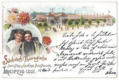 1897 Leipzig, Germany - Industrial Exposition - Official Vintage Postcard