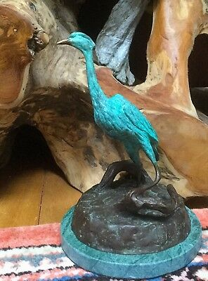 Heron & Catch~ Bronze Sculpture~ Great Blue Heron~ River~Michael Ringer Bronze