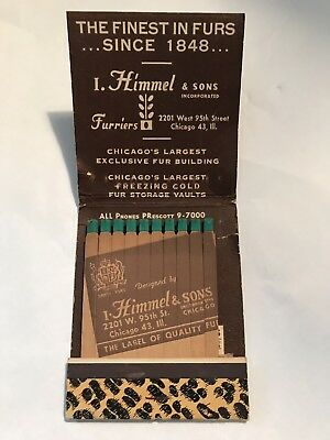 Feature Matchbook Giant Hummel & Sons Illinois Furs Vintage Advertising Furriers