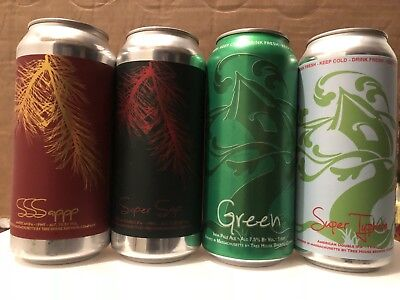 4 SUPER SAP SSSAPPP GREEN SUPER TYPHOON TREE HOUSE BREWING CO BEER CANS monkish