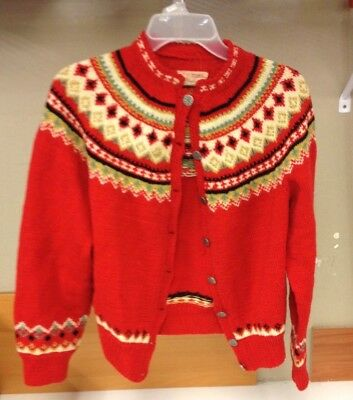 Vintage Husfliden Hand Knitted in Norway Sweater Lillehammer 100% Wool Med Red