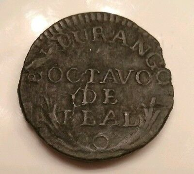 Mexico 1814 -18 Octavo de Real Durango Copper Mexican Coin War of Independence