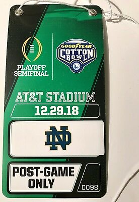 2018 2019 COTTON BOWL PLAYOFF GAME PROGRAM Field Pass CLEMSON TIGERS  NOTRE DAME