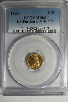 1903 LA Purchase Jefferson Gold $1 PCGS MS63 #319