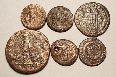 Lot of 6 Æ1-4 Ancient Roman Bronze Coins