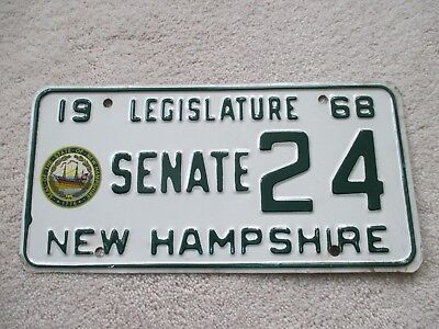 Nh New Hampshire Senate License Plate # 24 From 1968  Eileen Foley Of Portsmouth