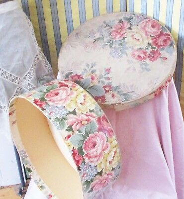 Vintage c1940s Shabby Millinery Wallpaper Covered Hat Box Cabbage Roses