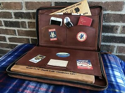 VINTAGE 1970's TRAVEL STICKER BELTING LEATHER MACBOOK PRO BRIEFCASE BAG R$1198