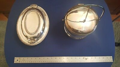 Set of 2 Silver-plate Serving Vessels, Vegetable and Ice, total of 2