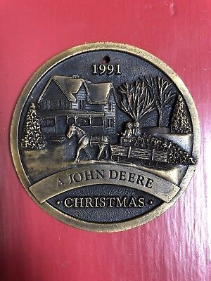 *John Deere 1991Limited Ed Brass Christmas Ornament Mfg 1991