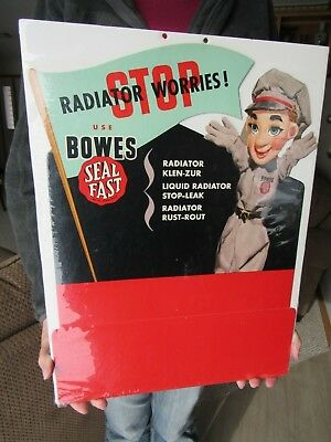 Original Vintage Nos Bowes Seal Fast Stop Radiator Problems Advertising Sign