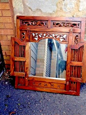 Vintege Ornate Carved Wooden Mirror