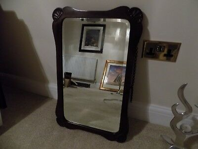 Victorian Carved Mahogany Hanging Wall Mirror Bevelled Glass Original Chain