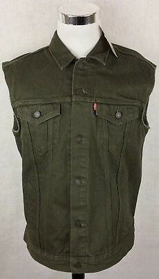 NWT Levis Denim Trucker Jeans Vest Army Green Men's Size Small S