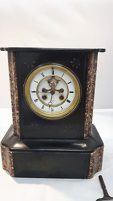 HENRY MARC Paris Antique French Marble Marquetry Inlaid Mantle Clock 1880's #211